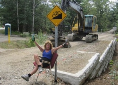 ETMD Executive Director Carole Brush supervising trail construction in Arundel