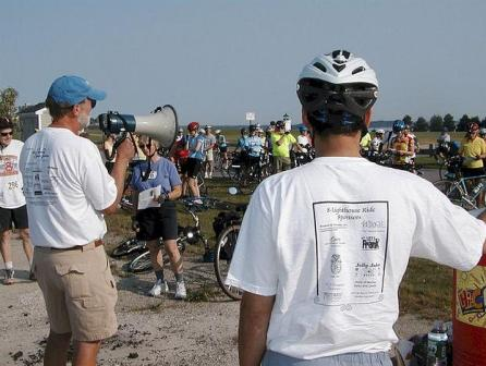 Riders getting information at the start of the 25 mile MLR ride