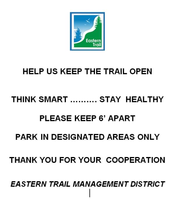 Help us keep the trail open - keep 6 feet apart