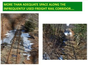 More than adequate space along the infrequently used freight rail corridor