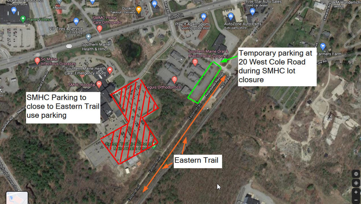 Map of closed parking at SMHC